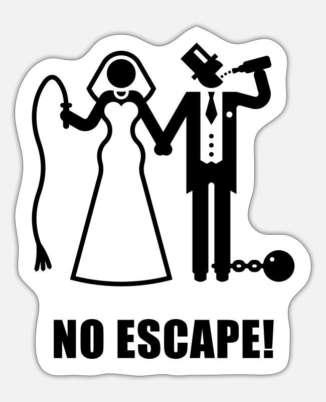 Stag Stickers - No Escape! (Wedding / Groom / Bachelor Stag Party) - Sticker white mat