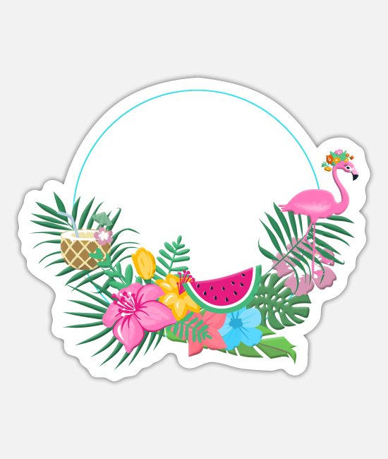 Hen Stickers - beachy_wreath_flamingo - Sticker white mat