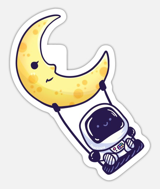 Space Stickers - Moon planet outer space astronaut swing - Sticker white mat