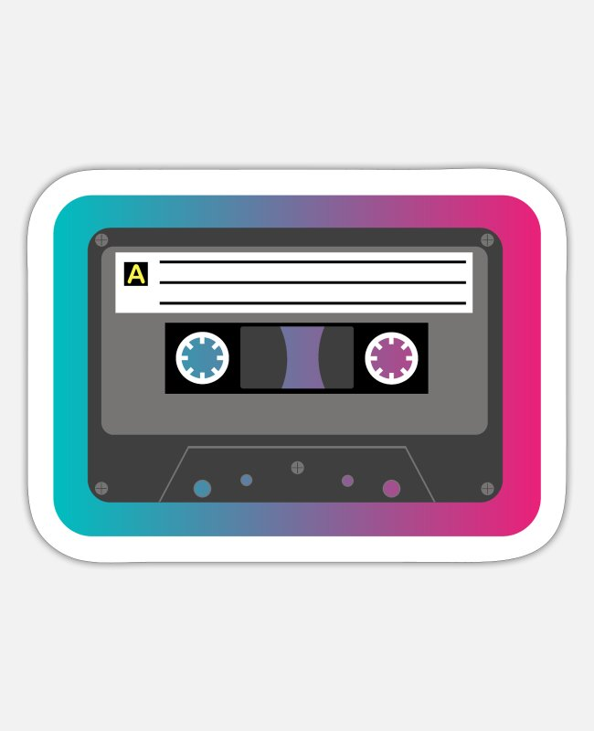 Kassette Sticker - Retro Kassette 80's & 90's - Sticker Mattweiß