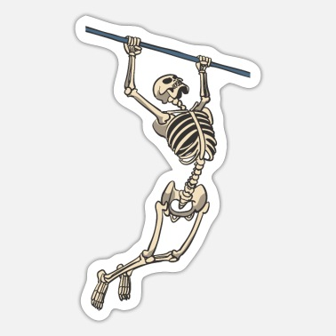 Chin Up Skeleton on the fitness sport chin-up bar - Sticker