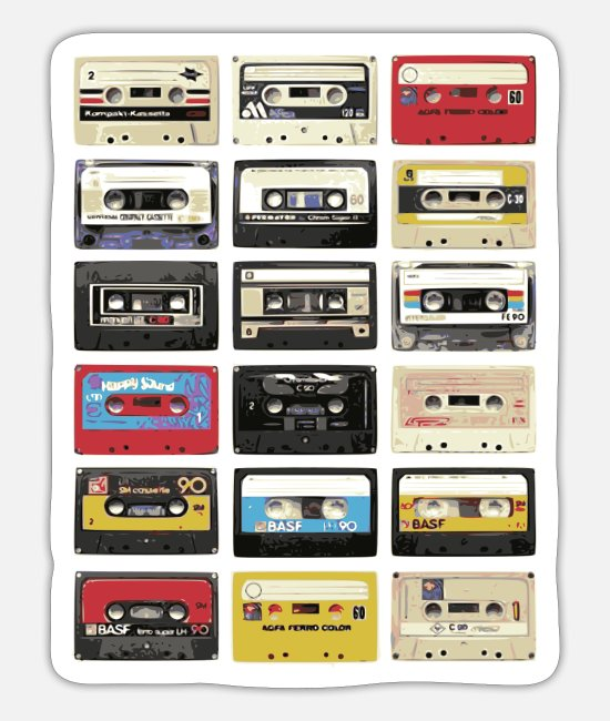 New Stickers - Cassette Tabe Retro - Sticker white mat