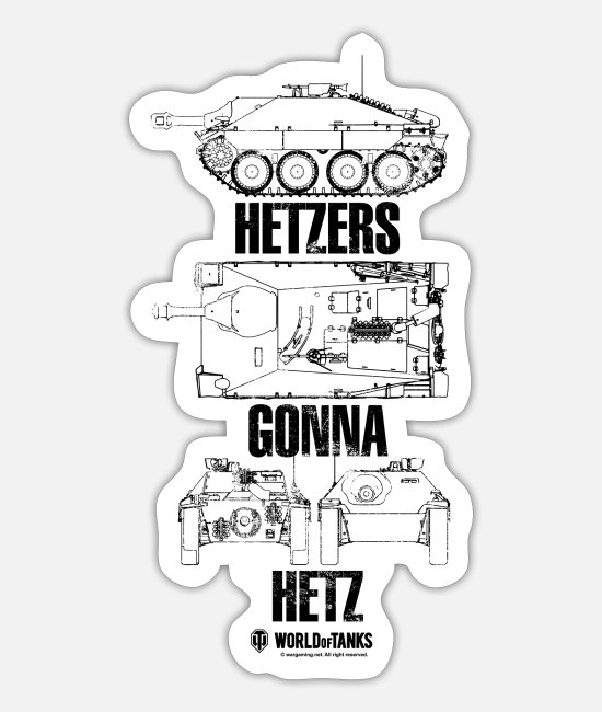 Wargaming Stickers - World of Tanks Hetzers Gonna Hetz - Sticker white mat