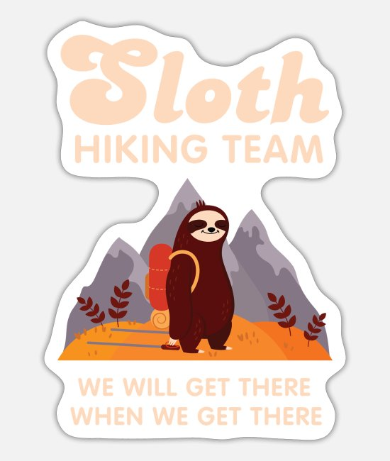 Sloth Running Team Stickers - Sloth Hiking Team - Retro Vintage Mountains Hike - Sticker mat hvid