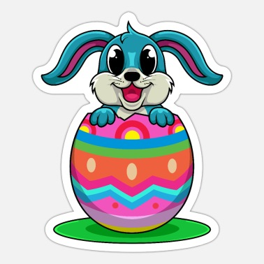 Oyster Eggs Happy Easter Bunny Sitting In A Colorful Egg - Sticker