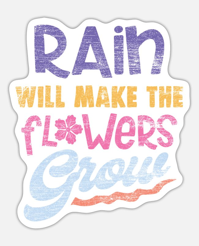 Weather Stickers - Rain & flowers - Sticker white mat