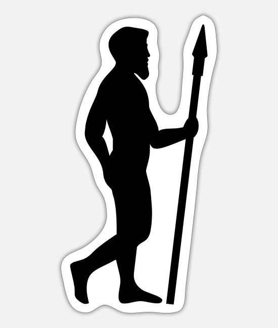 Extinct Stickers - Prehistoric man with spear - Sticker white mat