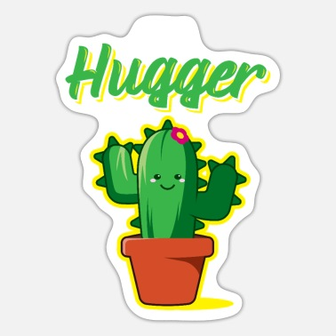Prickly Not A Hugger Funny cactus with prickly cactus - Sticker