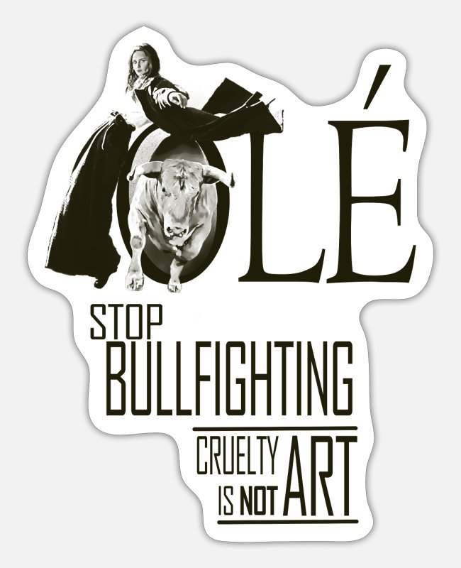 Matador Sticker - Stop Bullfighting - Stoppt den Stierkampf - Sticker Mattweiß