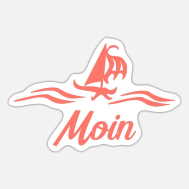 East Frisia Moin with ship in coral - Sticker