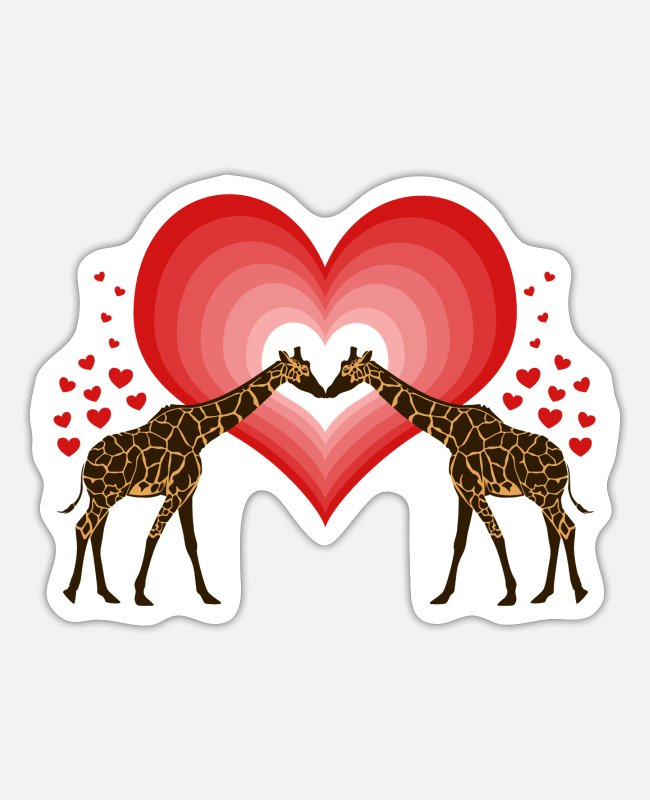 Heart Stickers - Valentine's Day, Valentine's Day Giraffe - Sticker white mat
