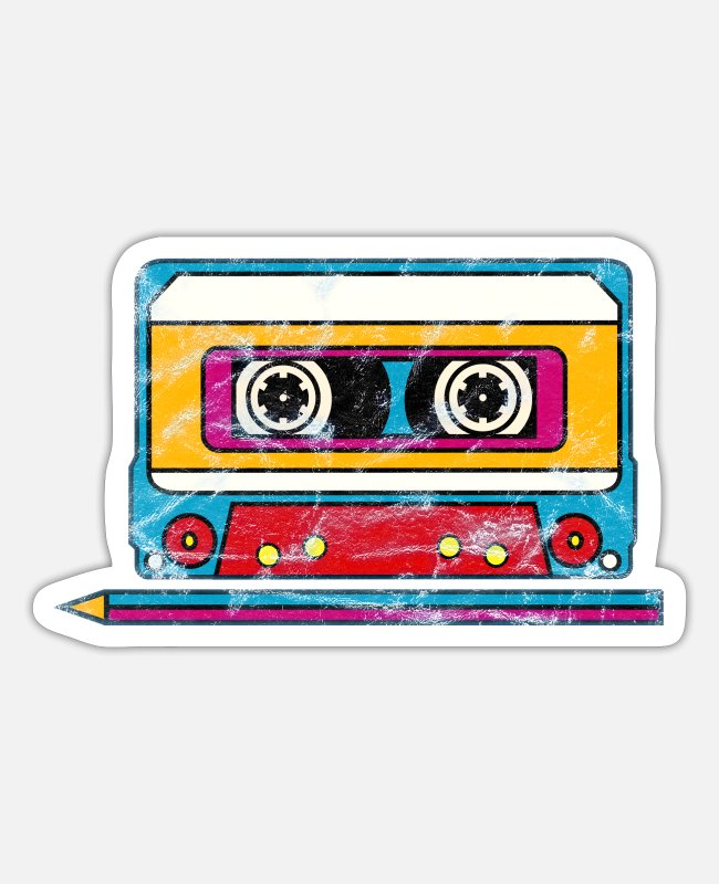 Kassette Sticker - Mixtape Musik Tape Kassette 80er 90er Retro Stift - Sticker Mattweiß