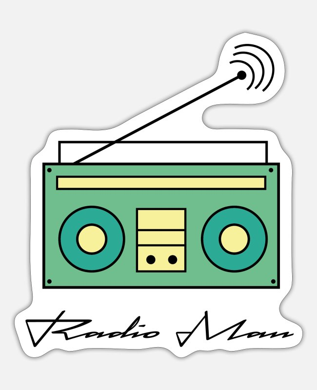 Hipster Stickers - Radio Man Edition - Sticker mat hvid