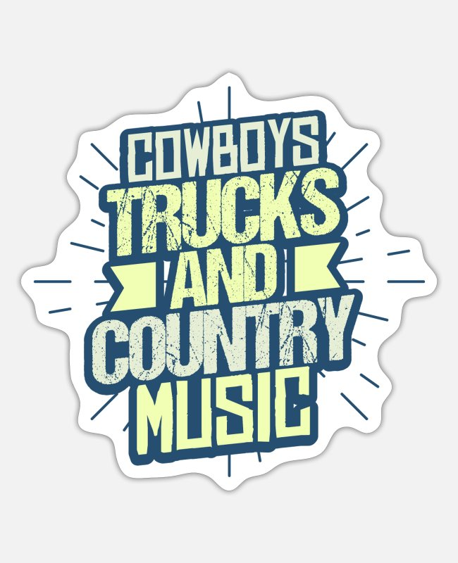 Gift Stickers - Country muziek trucker - Sticker mat wit