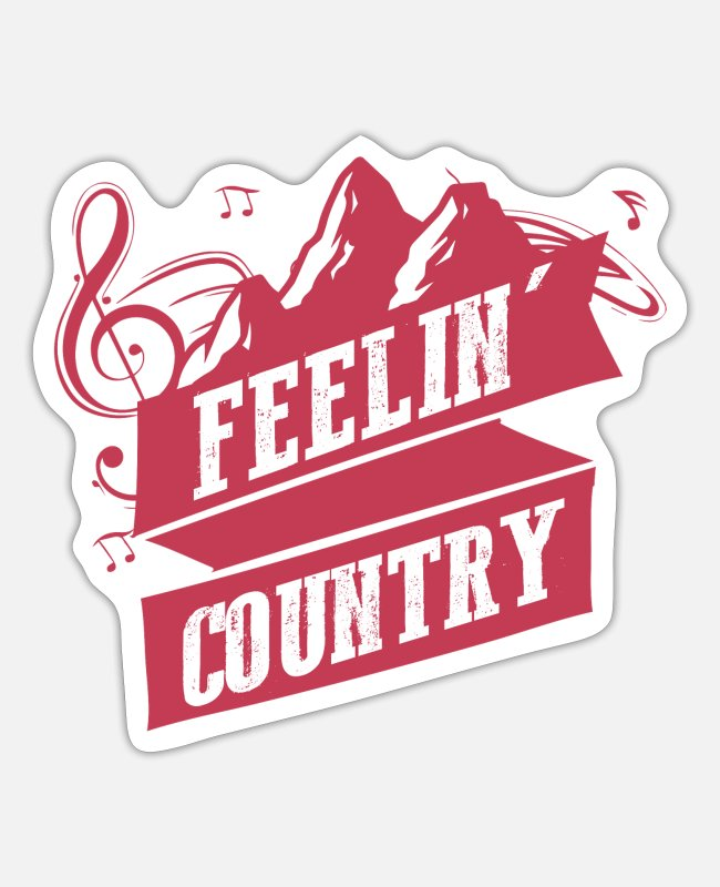 Rock Stickers - Country music - Sticker white mat
