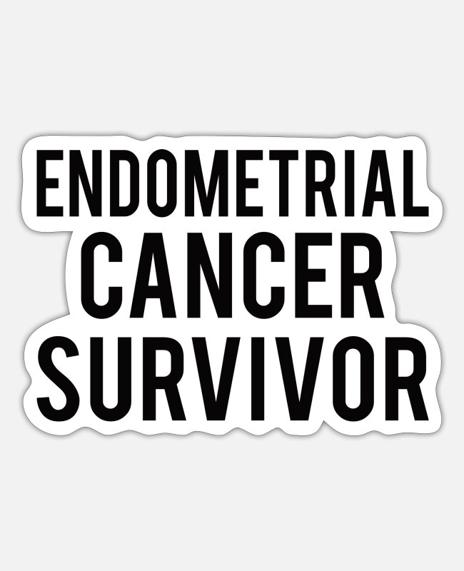 Ribbons Stickers - Endometrial Cancer: Endometrial Cancer Survivor - Sticker white mat