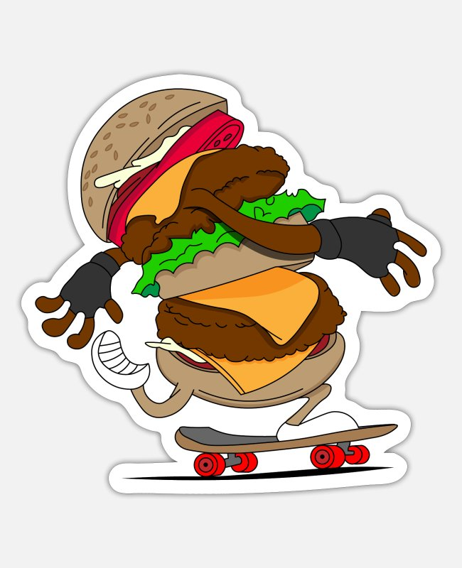 Burger Sticker - Cheeseburger Skateboard Skater - Sticker Mattweiß