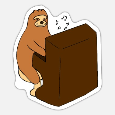 Love Playing Music Sloth plays music - Sticker
