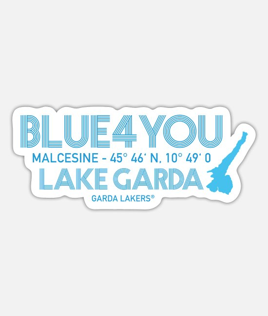 Sail Boat Stickers - Garda Lakers Blue 4 You Malcesine - Sticker white mat