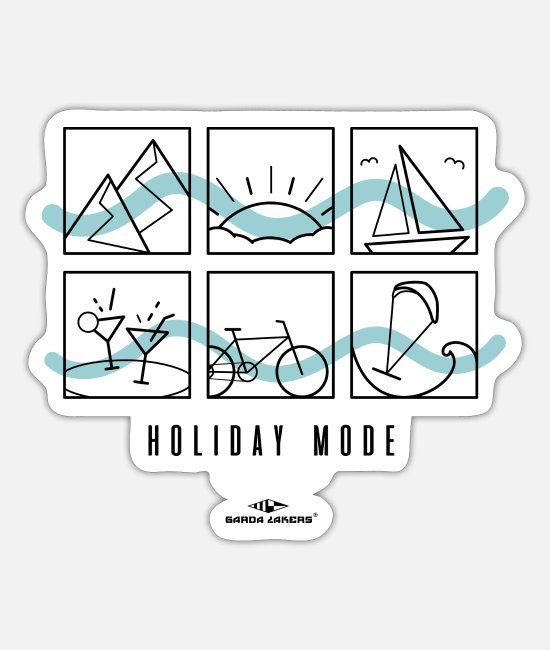Mountains Stickers - Garda Lakers Holiday Mode Holiday Mode - Sticker white mat