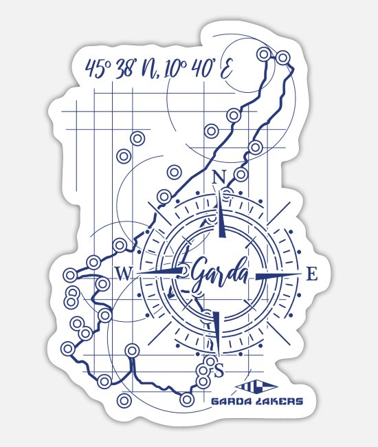 Sail Boat Stickers - Garda Lakers compass map - Sticker white mat