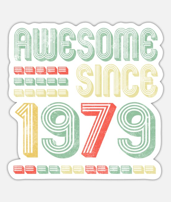 Birthday Party Stickers - 1979 T Shirt 40 Years Old 40th Birthday - Sticker white mat