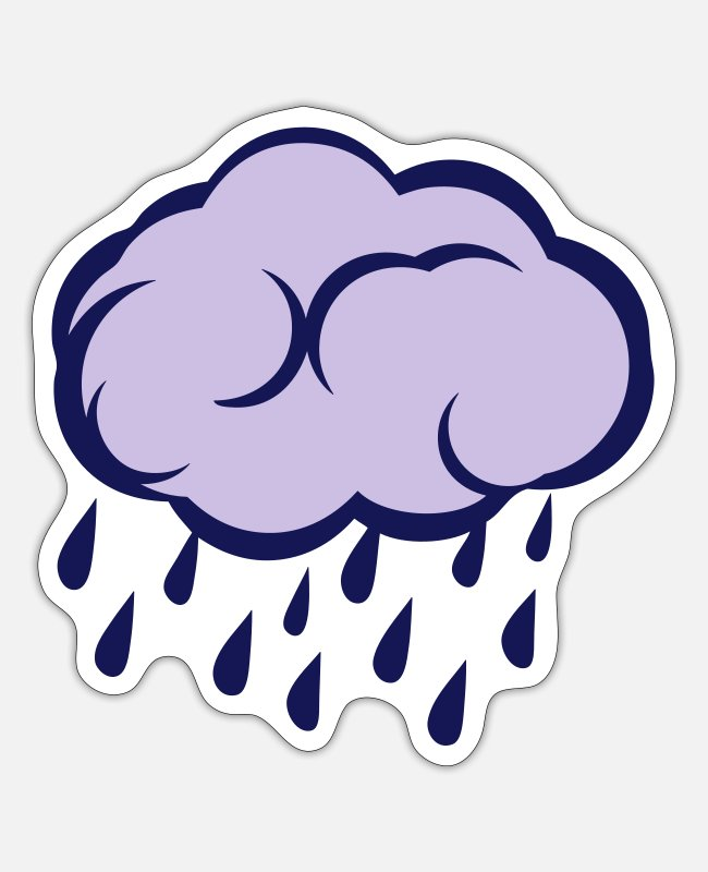 Weather Stickers - cloud rain rotten weather - Sticker white matte