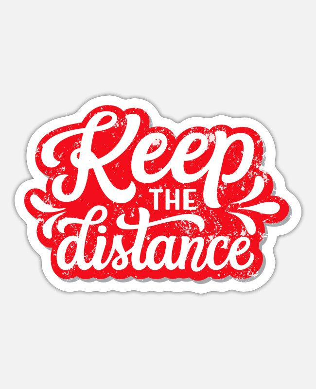 Virus Stickers - Keep distance! Keep distance - Sticker white matte