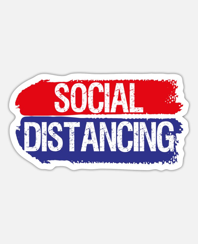Virus Stickers - Social Distancing Antisocial distance - Sticker white matte