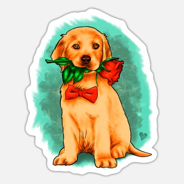 Pentecostal Puppy with rose illustration Yolo artwork - Sticker
