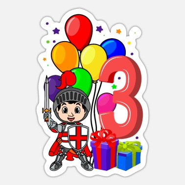 Knight Birthday Party Knight birthday shirt 3 years boy birthday - Sticker