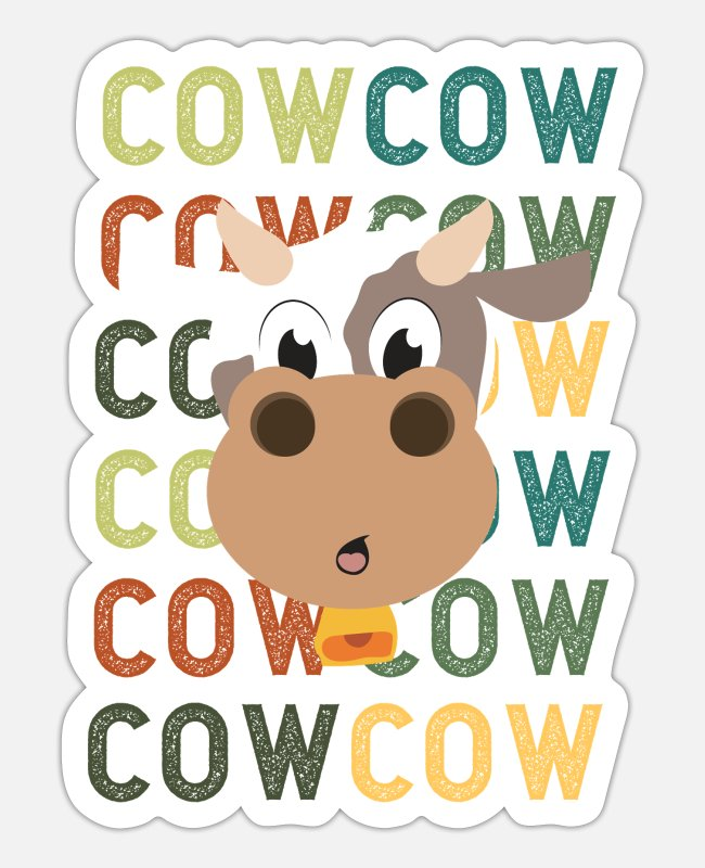 Dairy Cow Stickers - Cute animals cow cow cow cow Funny gift idea - Sticker white mat