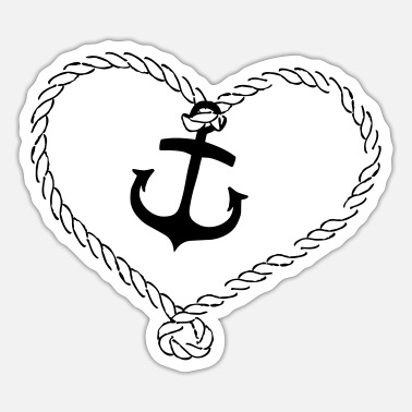 Face protection anchor with a heart made of rope - Sticker