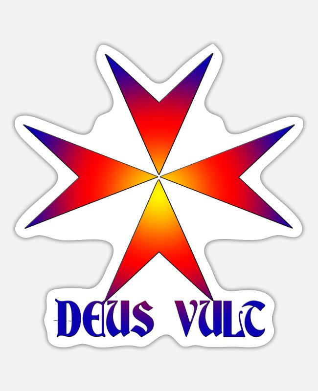 Templar Stickers - Knights Templar Malta Cross Deus Vult - Sticker white matte