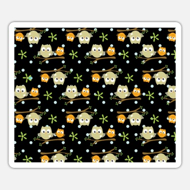 Owl Cute Night Owls Black Pattern - Sticker