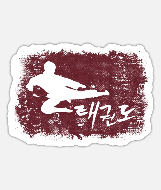 Dobok Stickers - Taekwondo Tae Kwon Do på koreansk - Sticker mat hvid