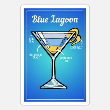 Blue Lagoon Blue Lagoon Cocktail Drinks Barkeeper Bar - Sticker