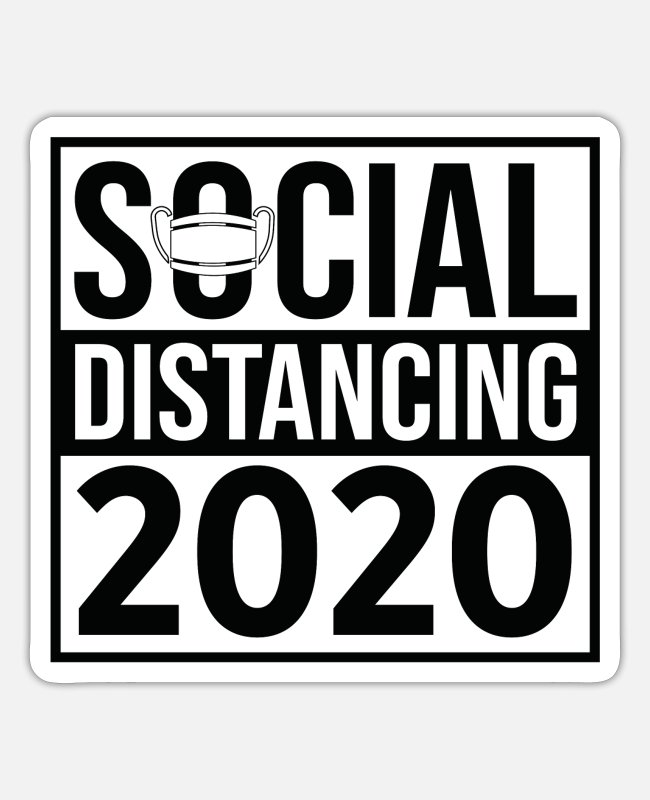 Virus Stickers - Social Distancing 2020 - Sticker white mat