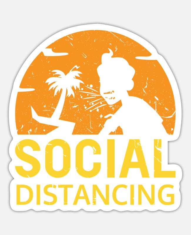 Infection Stickers - Social distancing - Sticker white mat