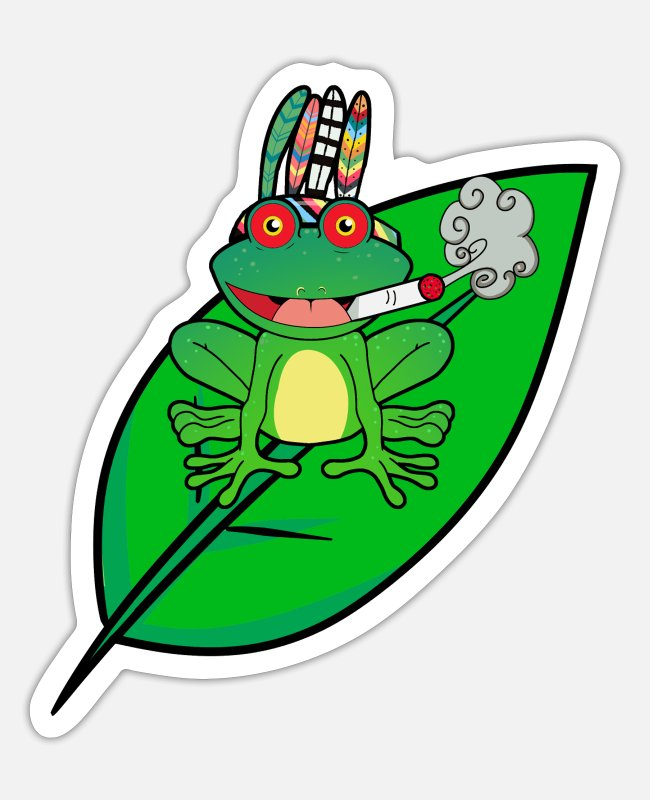 Cannabis Stickers - Hippie stoner frog smoking cannabis drug joint - Sticker white matte