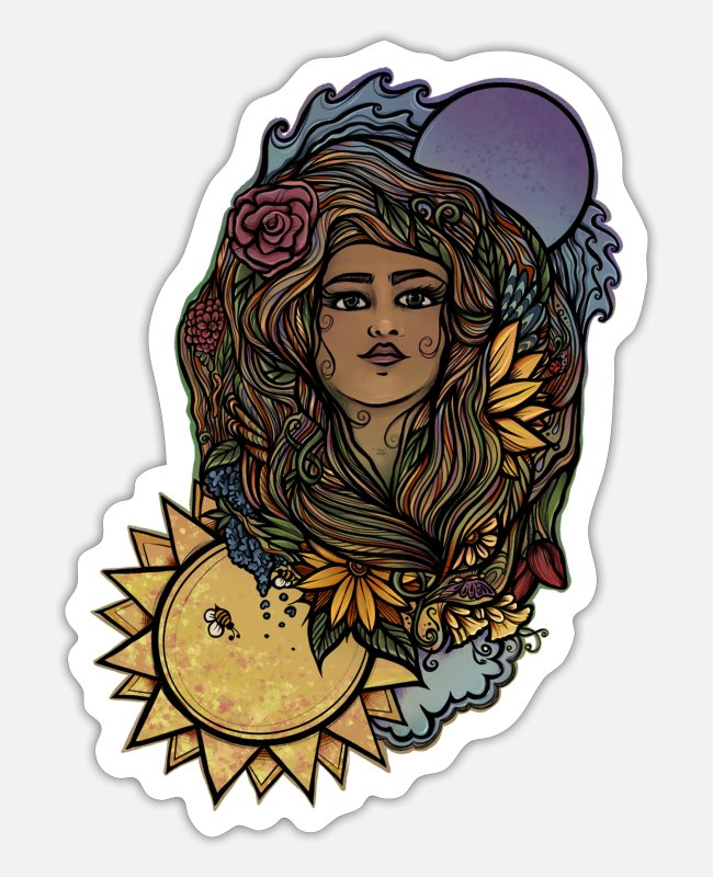 Druid Stickers - The World Tarot Gaia Goddess - Sticker white mat