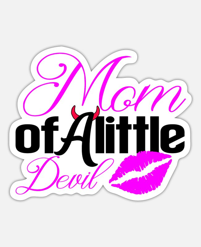 Mummy Stickers - Mom of a little devils, one - Sticker white mat