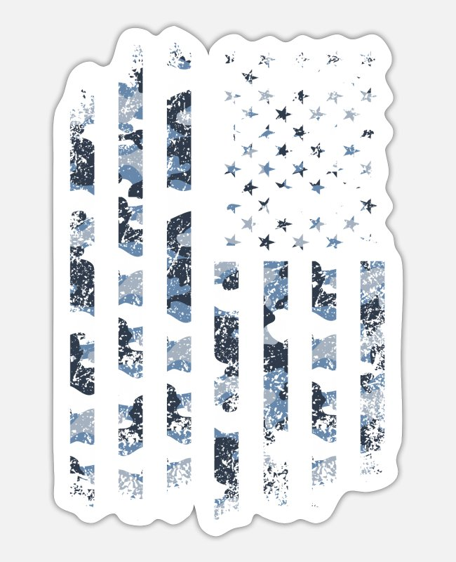 Camper Stickers - Camo USA Flag American Military Style July 4 Camou - Sticker white mat