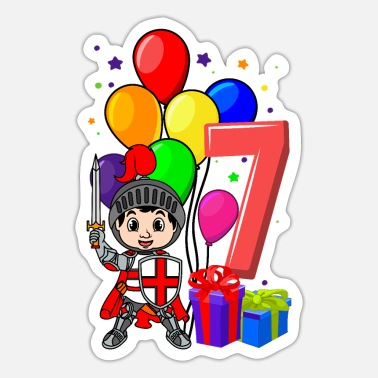Knight Birthday Party Knight birthday shirt 7 years boy birthday - Sticker