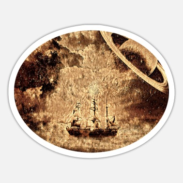 Space Ship Sailing ship in space - Sticker