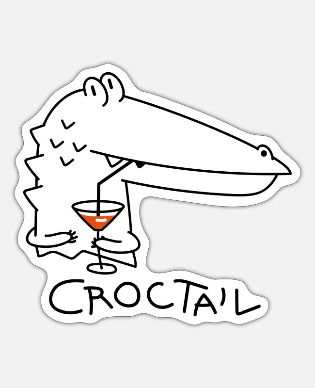 Celebrate Stickers - Funny crocodile with coctail (b) - Sticker white mat