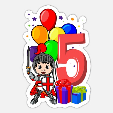 Knight Birthday Party Knight birthday shirt 5 years boy - Sticker