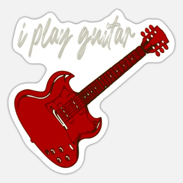 Guitar Red Guitar I Play Guitar - Sticker