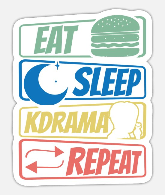 Pink Stickers - Eat Sleep KDrama Repeat - K-Pop Fan - Sticker white mat