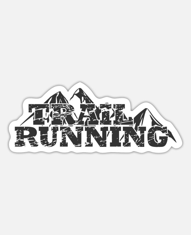 Nature Sticker - Trail Running Mountains Distressed grey grau - Sticker Mattweiß